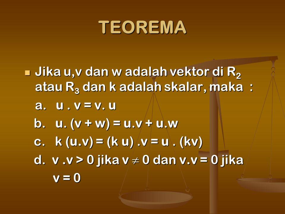 TEOREMA Jika u,v dan w adalah vektor di R2 atau R3 dan k adalah skalar, maka : a. u . v = v. u.