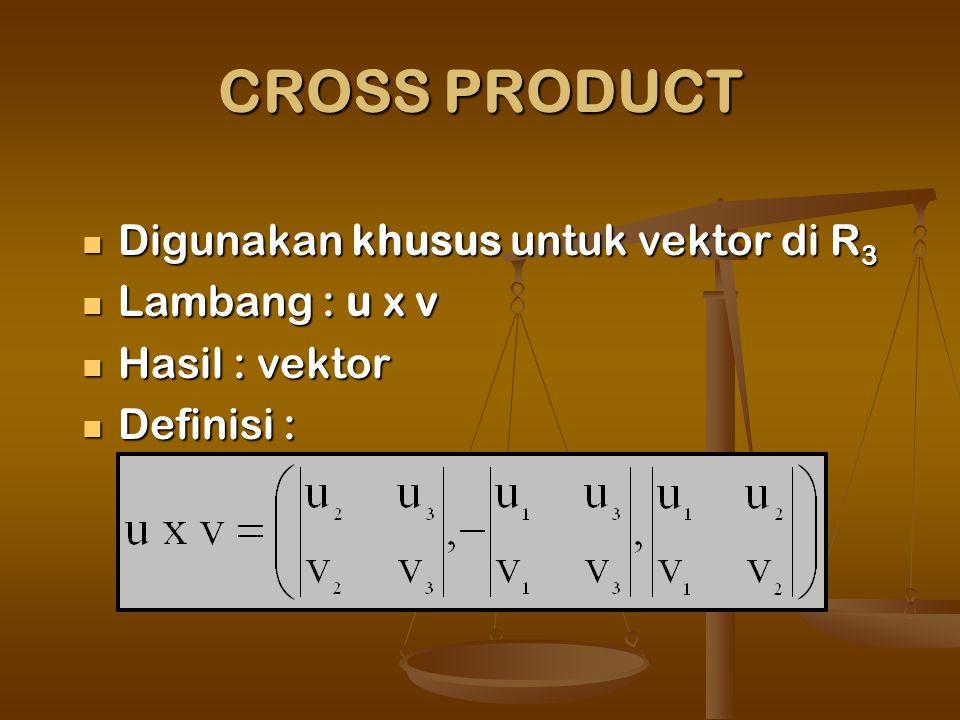 CROSS PRODUCT Digunakan khusus untuk vektor di R3 Lambang : u x v