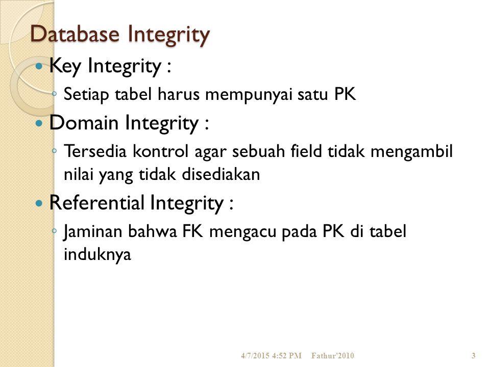 Database Integrity Key Integrity : Domain Integrity :