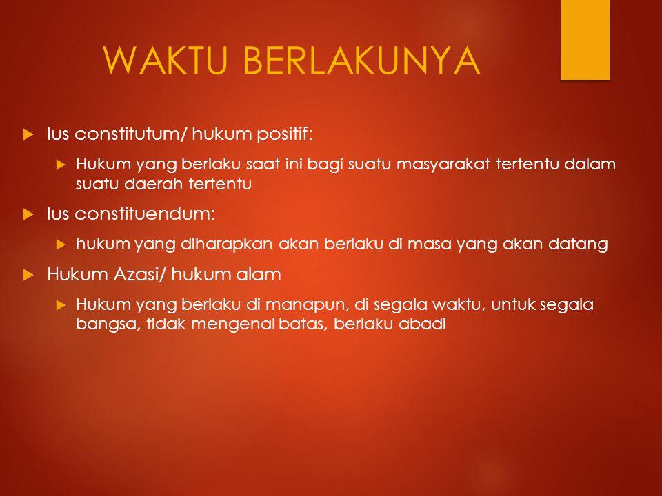 WAKTU BERLAKUNYA Ius constitutum/ hukum positif: Ius constituendum: