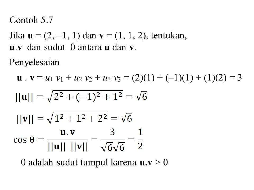 Contoh 5.7 Jika u = (2, –1, 1) dan v = (1, 1, 2), tentukan, u.v dan sudut  antara u dan v. Penyelesaian.