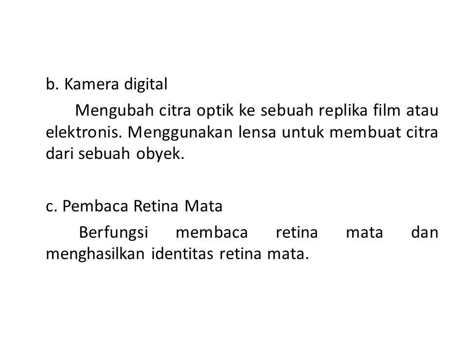 b. Kamera digital Mengubah citra optik ke sebuah replika film atau elektronis.