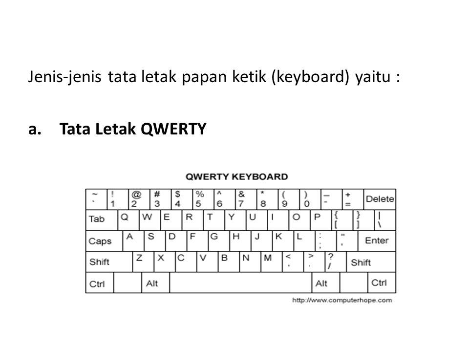 Jenis-jenis tata letak papan ketik (keyboard) yaitu :
