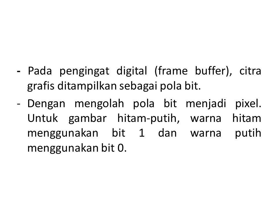 - Pada pengingat digital (frame buffer), citra grafis ditampilkan sebagai pola bit.