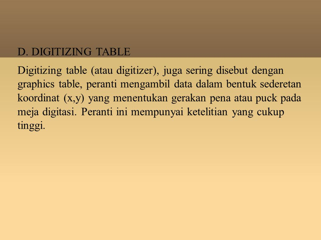 D. DIGITIZING TABLE