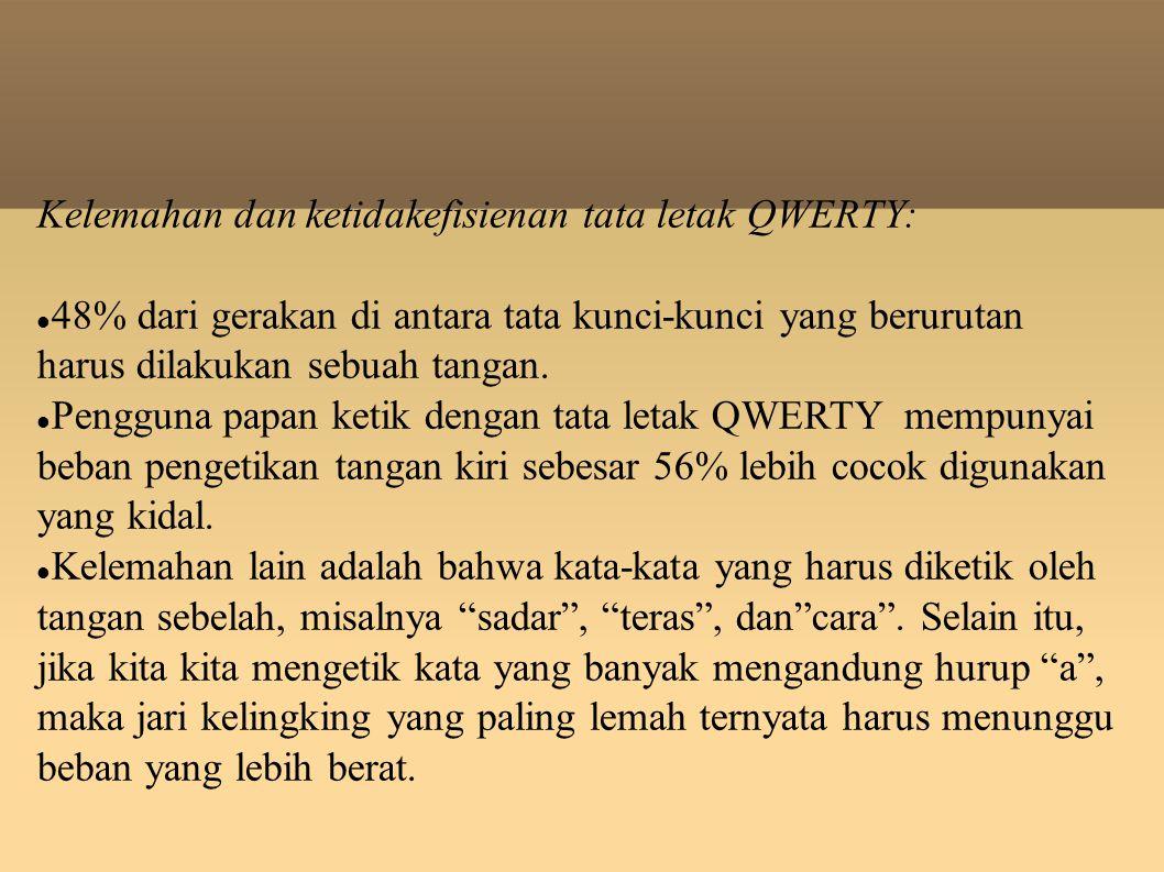 Kelemahan dan ketidakefisienan tata letak QWERTY: