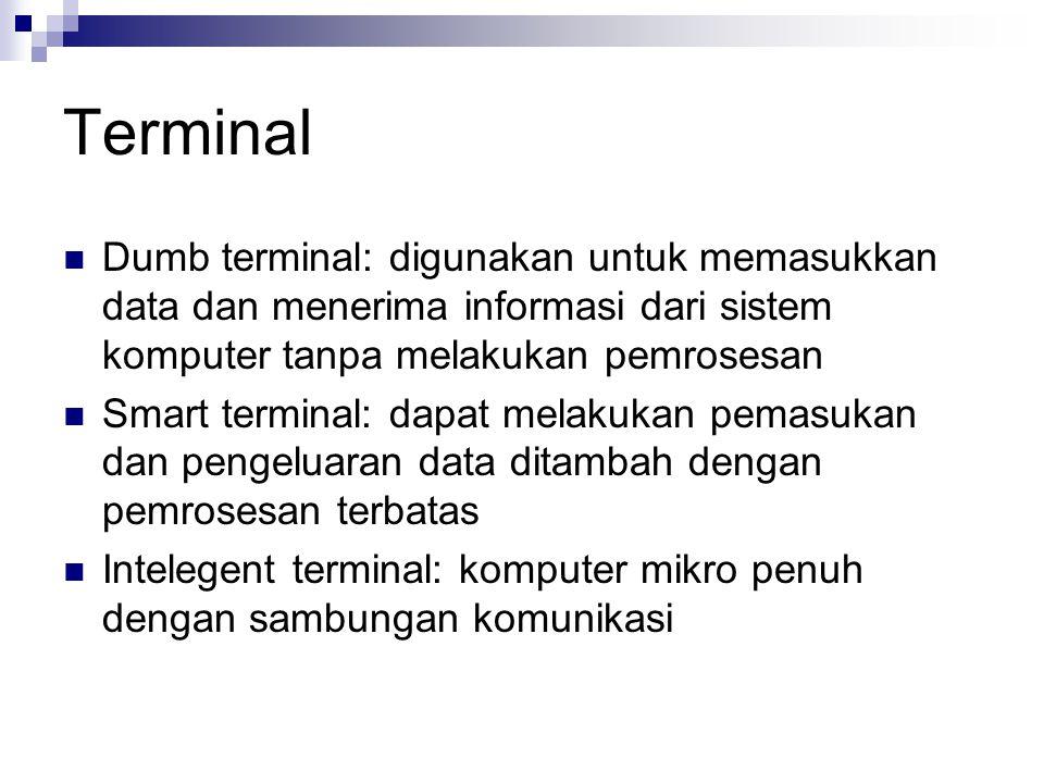 Terminal Dumb terminal: digunakan untuk memasukkan data dan menerima informasi dari sistem komputer tanpa melakukan pemrosesan.
