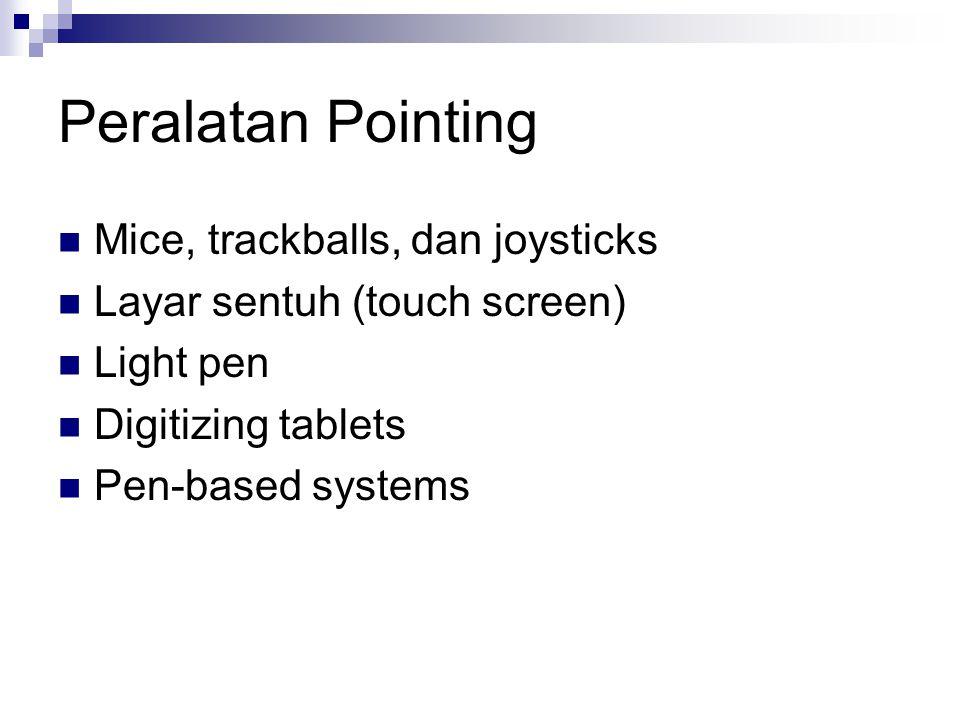 Peralatan Pointing Mice, trackballs, dan joysticks