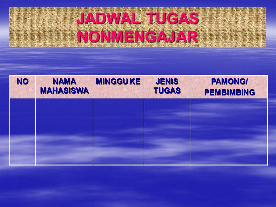 JADWAL TUGAS NONMENGAJAR