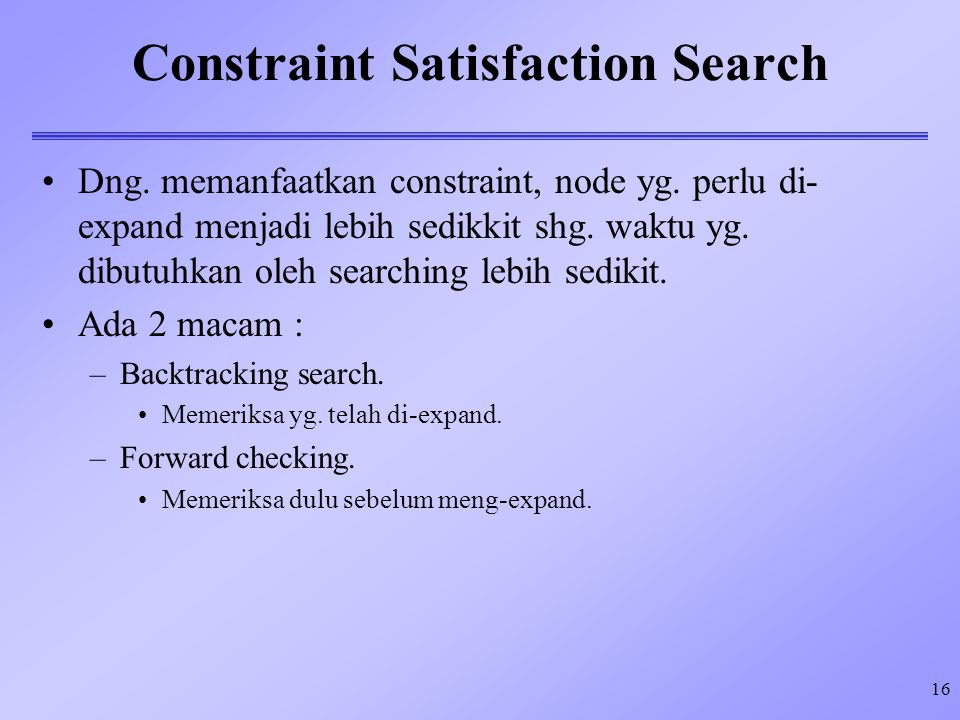 Constraint Satisfaction Search