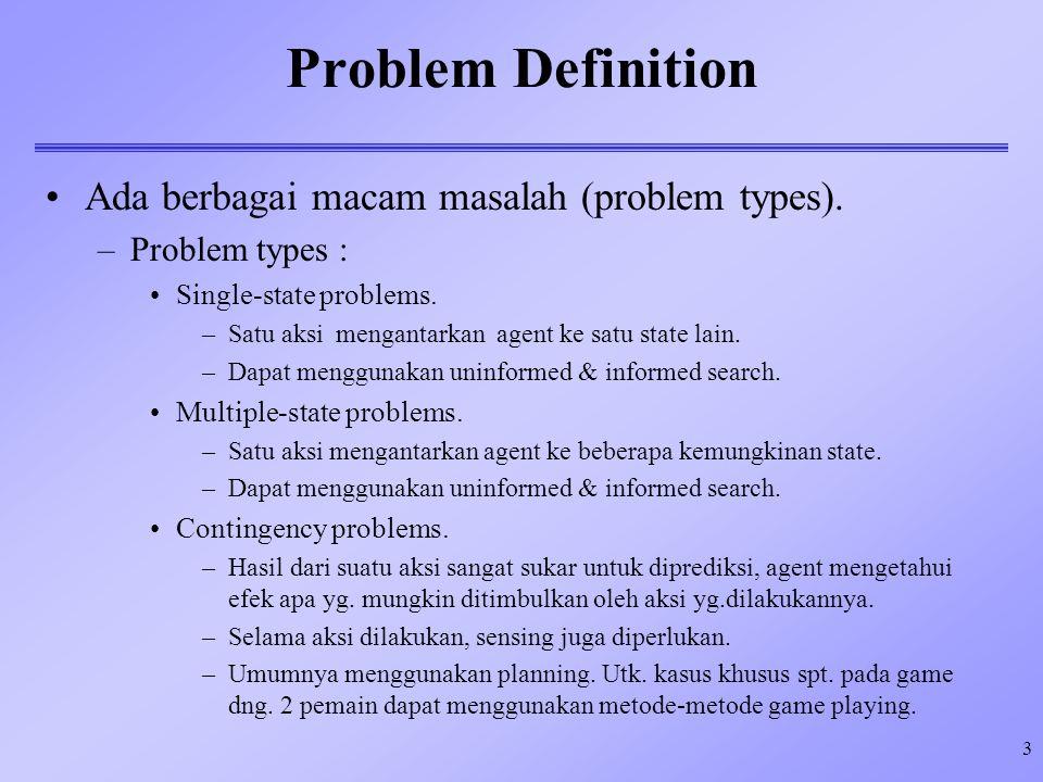 Problem Definition Ada berbagai macam masalah (problem types).