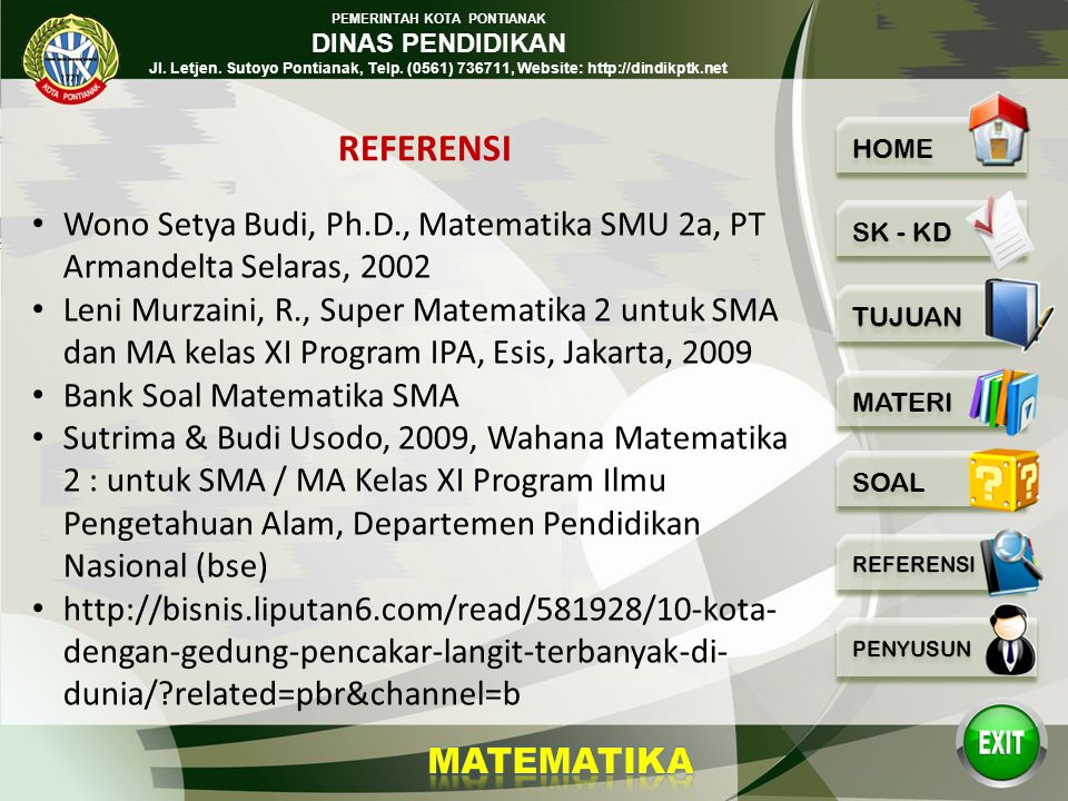REFERENSI Wono Setya Budi, Ph.D., Matematika SMU 2a, PT Armandelta Selaras, 2002.