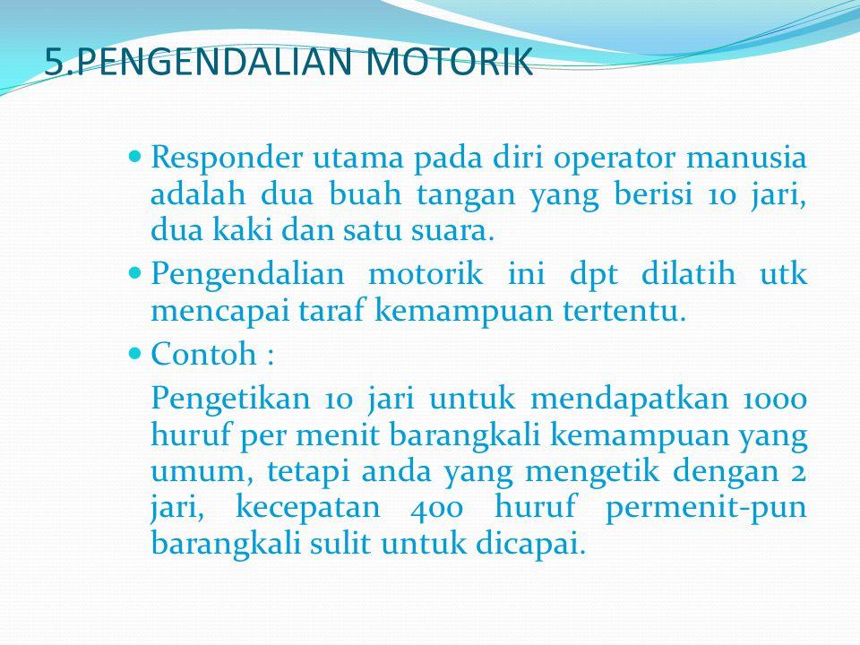 5.PENGENDALIAN MOTORIK Responder utama pada diri operator manusia adalah dua buah tangan yang berisi 10 jari, dua kaki dan satu suara.
