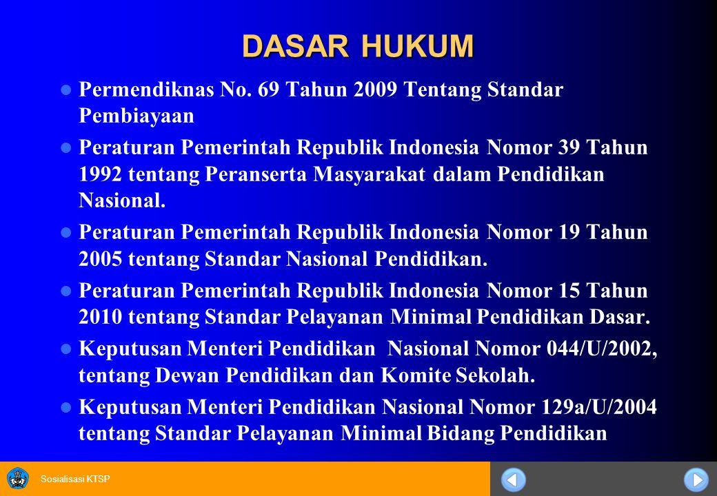 DASAR HUKUM Permendiknas No. 69 Tahun 2009 Tentang Standar Pembiayaan