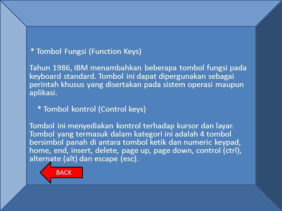 * Tombol kontrol (Control keys)