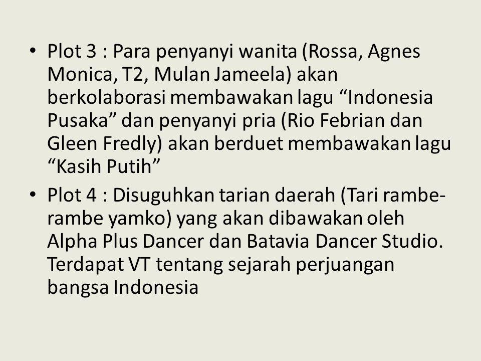Plot 3 : Para penyanyi wanita (Rossa, Agnes Monica, T2, Mulan Jameela) akan berkolaborasi membawakan lagu Indonesia Pusaka dan penyanyi pria (Rio Febrian dan Gleen Fredly) akan berduet membawakan lagu Kasih Putih