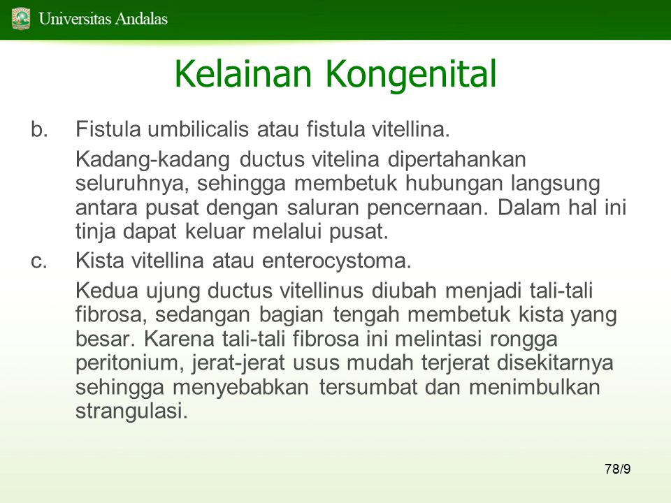 Kelainan Kongenital Fistula umbilicalis atau fistula vitellina.