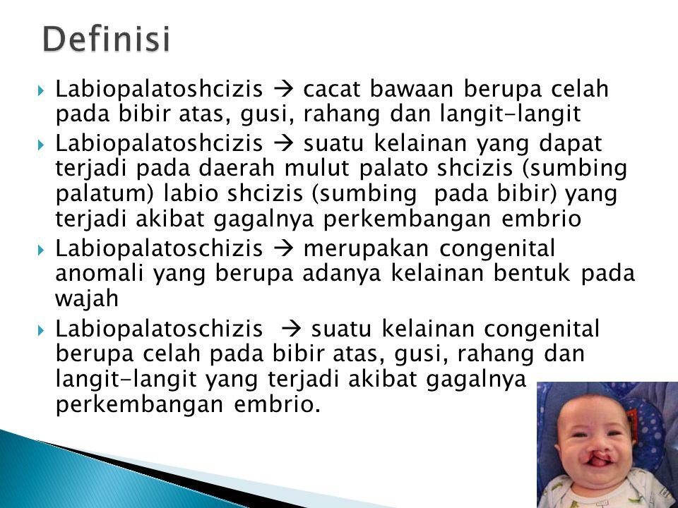 Definisi Labiopalatoshcizis  cacat bawaan berupa celah pada bibir atas, gusi, rahang dan langit-langit.
