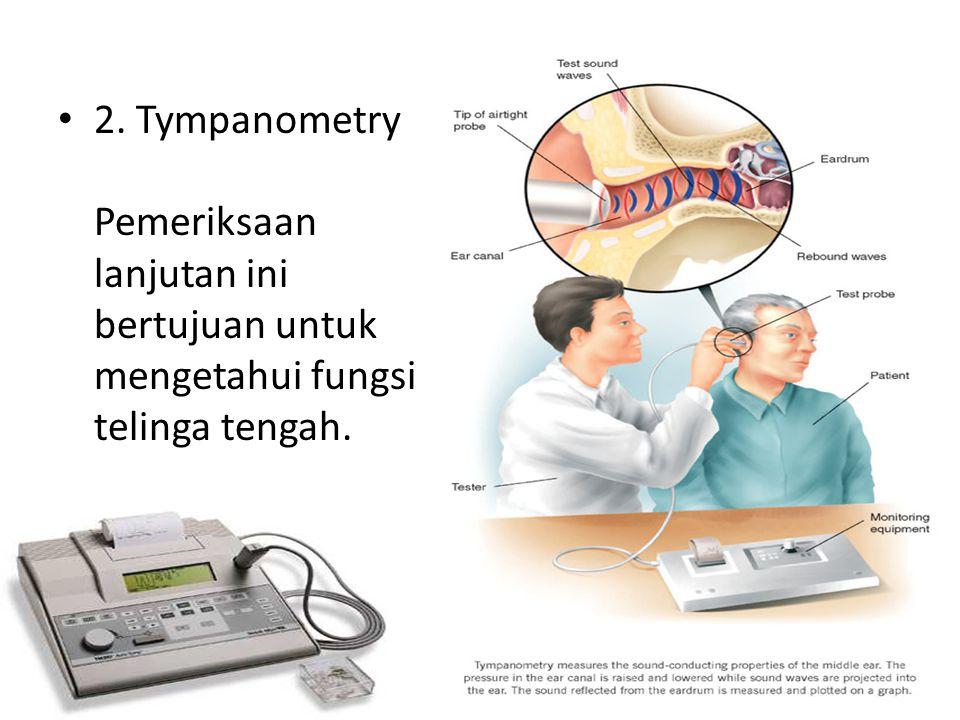 2. Tympanometry Pemeriksaan lanjutan ini bertujuan untuk mengetahui fungsi telinga tengah.