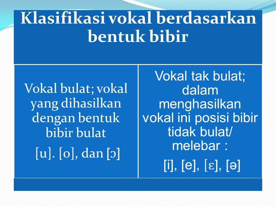 Klasifikasi vokal berdasarkan bentuk bibir