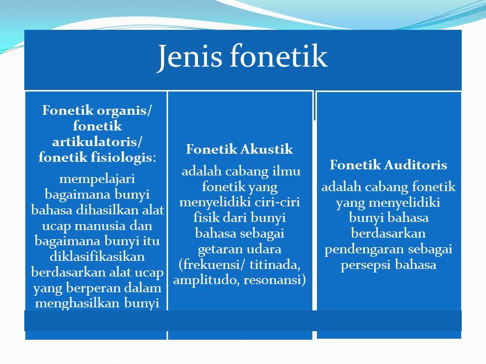 Fonetik organis/ fonetik artikulatoris/ fonetik fisiologis: