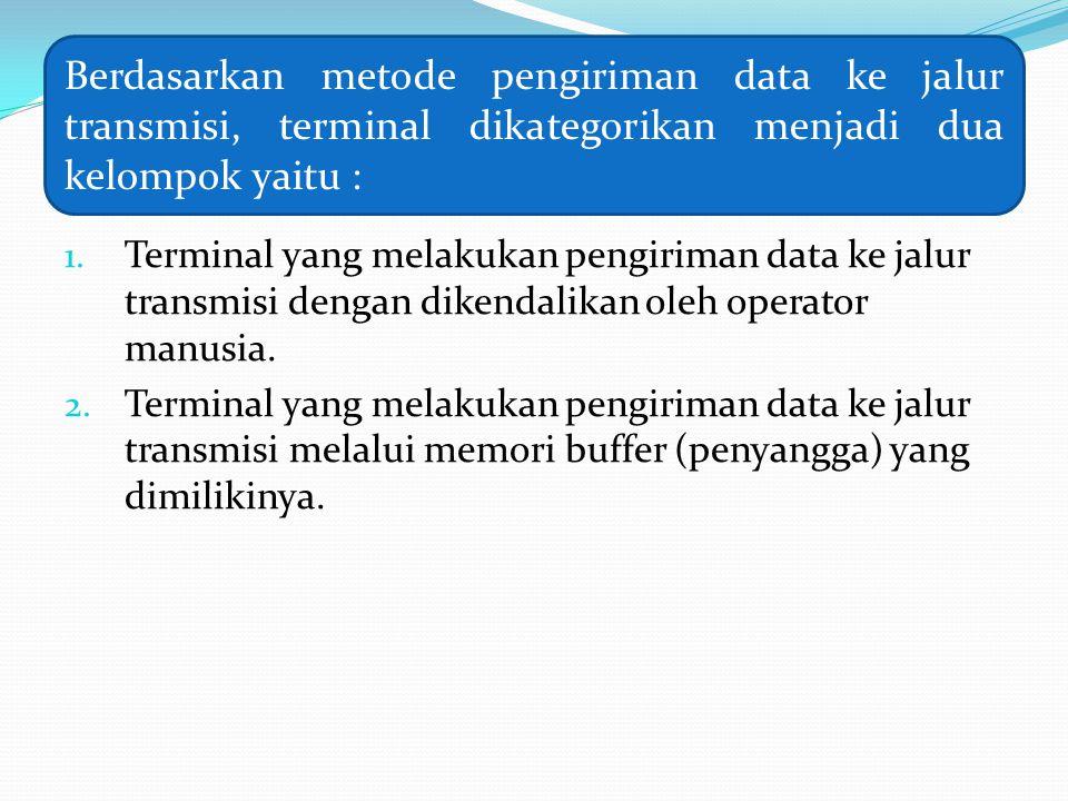 Berdasarkan metode pengiriman data ke jalur transmisi, terminal dikategorikan menjadi dua kelompok yaitu :