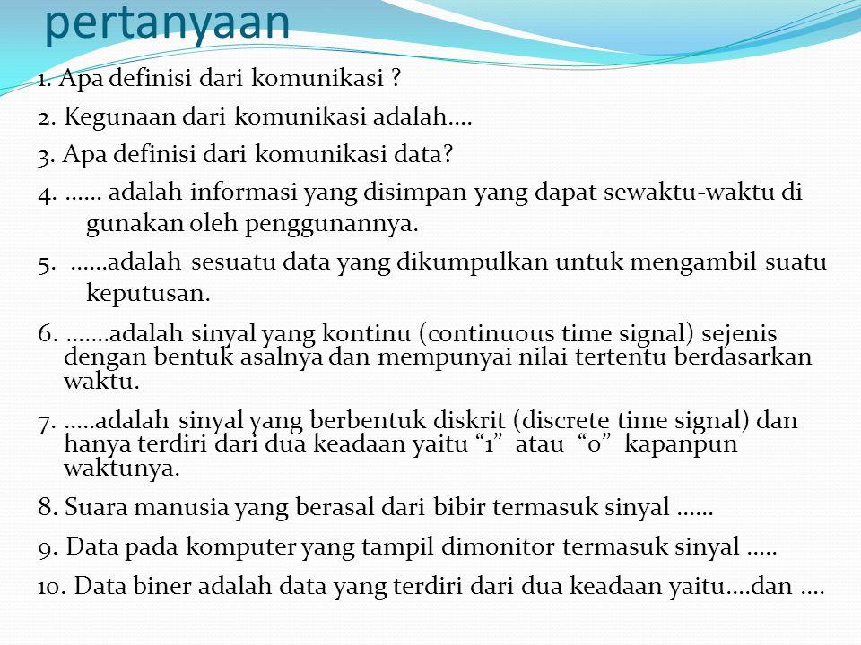pertanyaan 1. Apa definisi dari komunikasi