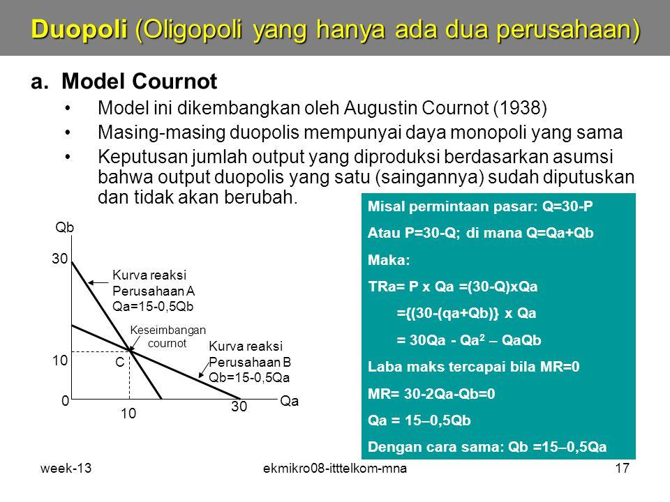 Duopoli (Oligopoli yang hanya ada dua perusahaan)