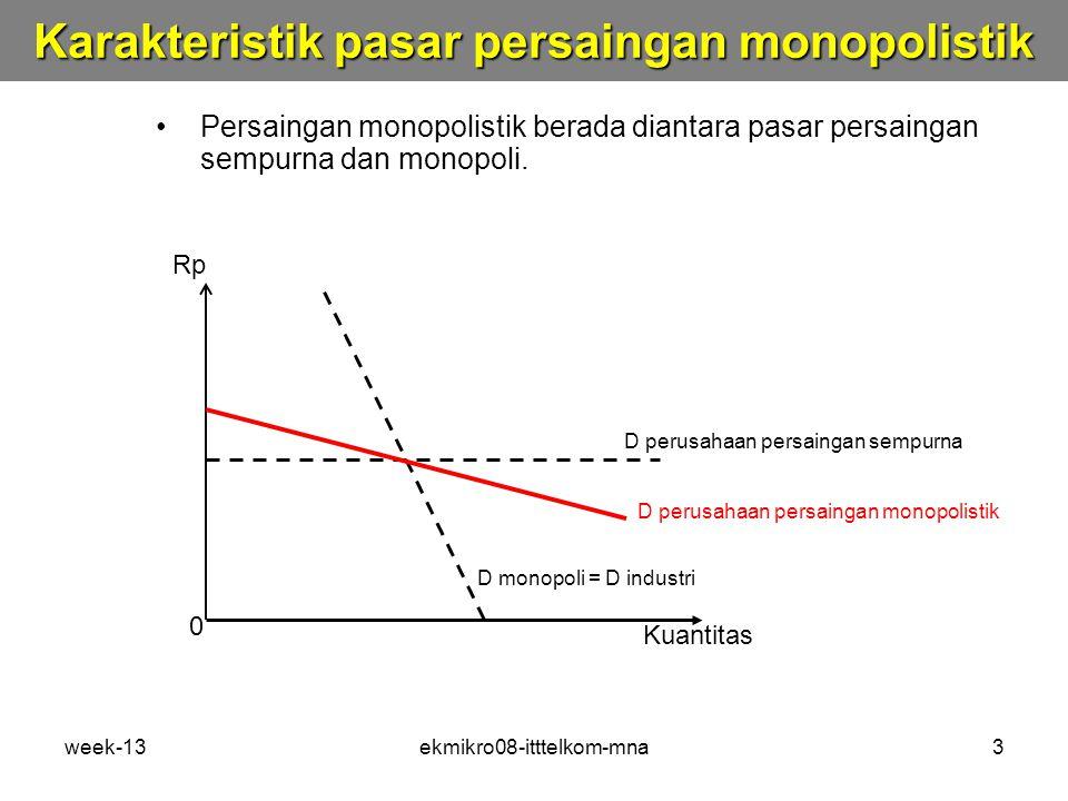 Karakteristik pasar persaingan monopolistik