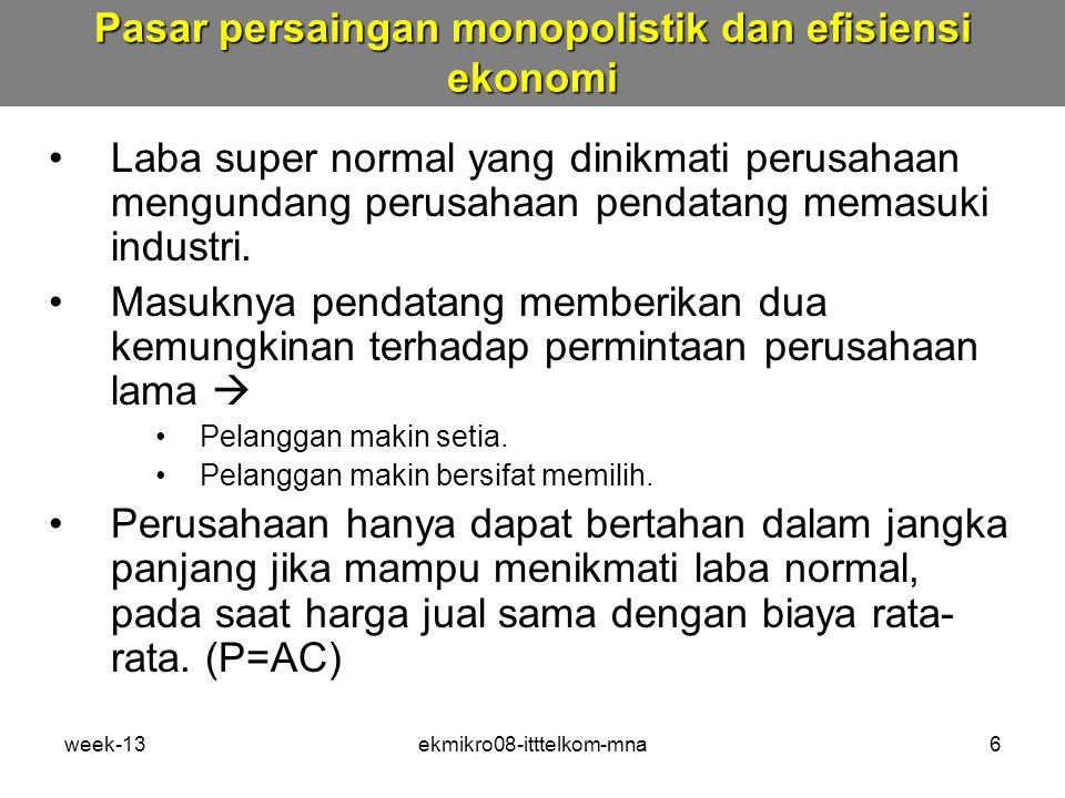Pasar persaingan monopolistik dan efisiensi ekonomi