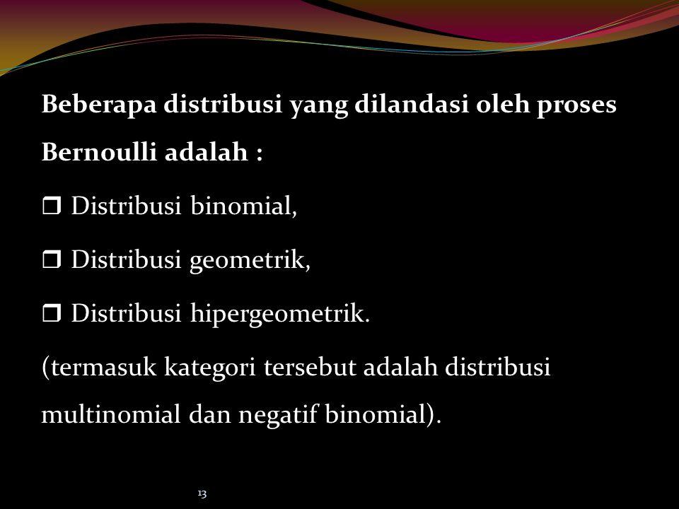 Beberapa distribusi yang dilandasi oleh proses Bernoulli adalah :