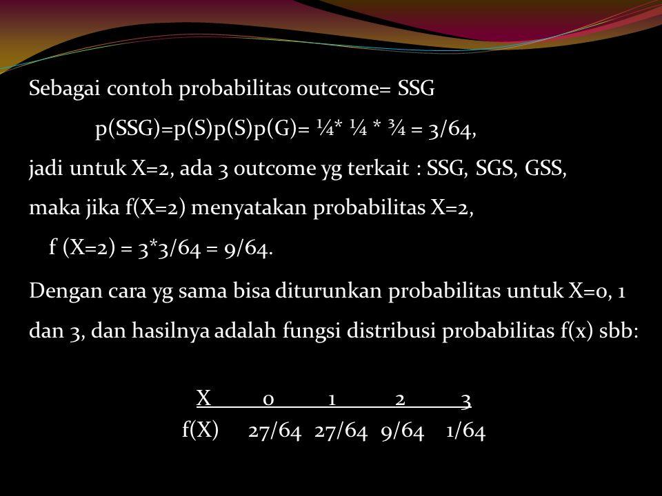 Sebagai contoh probabilitas outcome= SSG