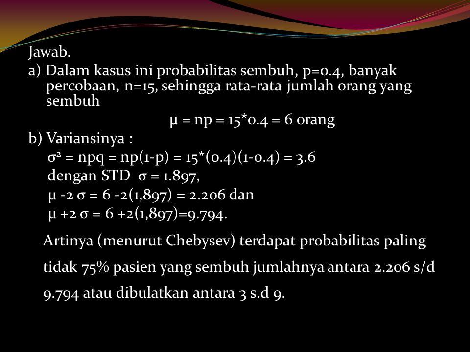 Jawab. a) Dalam kasus ini probabilitas sembuh, p=0.4, banyak percobaan, n=15, sehingga rata-rata jumlah orang yang sembuh.