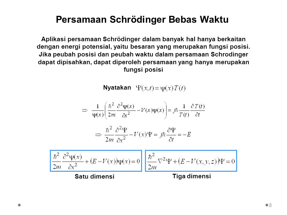 Persamaan Schrödinger Bebas Waktu