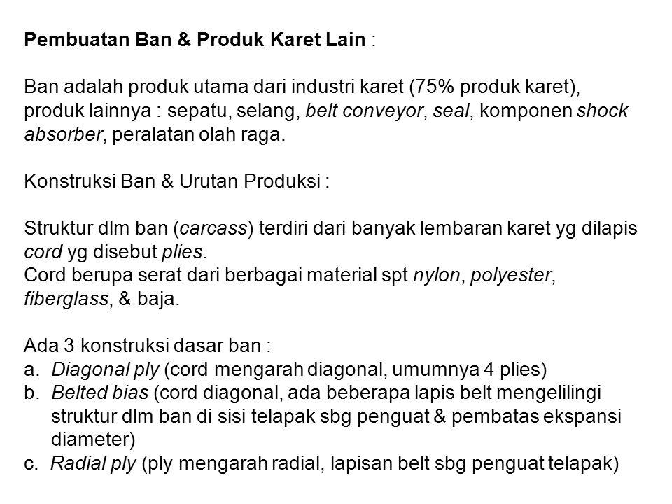 Pembuatan Ban & Produk Karet Lain : Ban adalah produk utama dari industri karet (75% produk karet), produk lainnya : sepatu, selang, belt conveyor, seal, komponen shock absorber, peralatan olah raga.