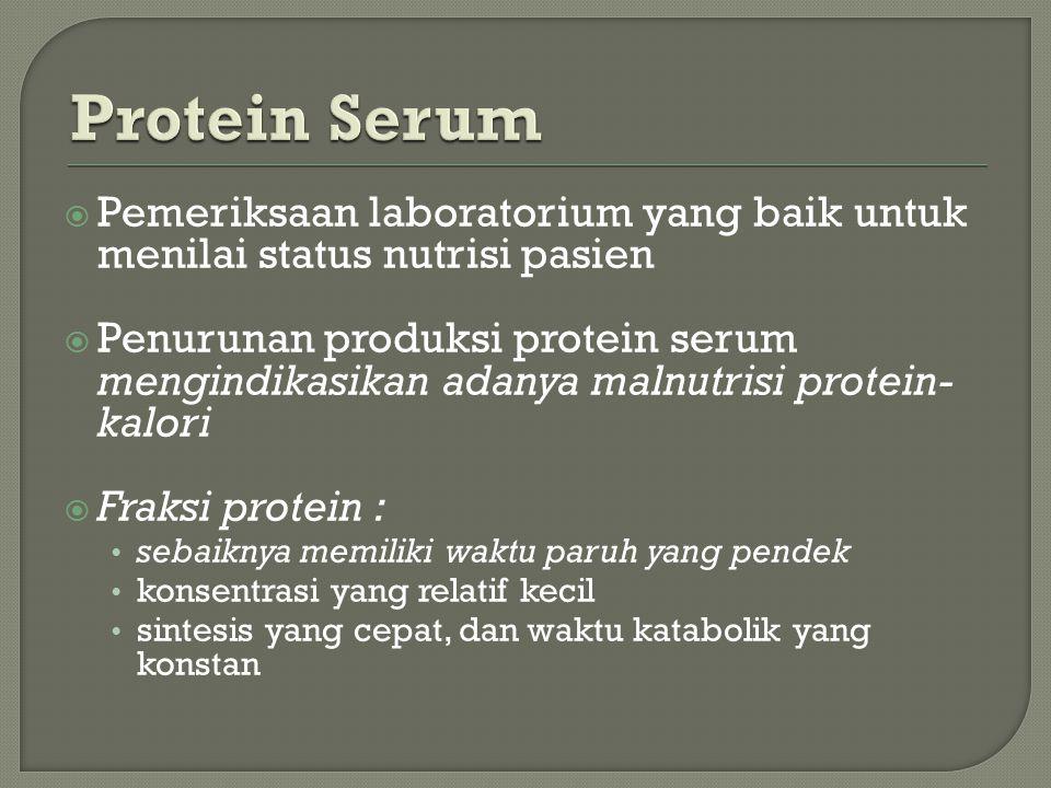 Protein Serum Pemeriksaan laboratorium yang baik untuk menilai status nutrisi pasien.