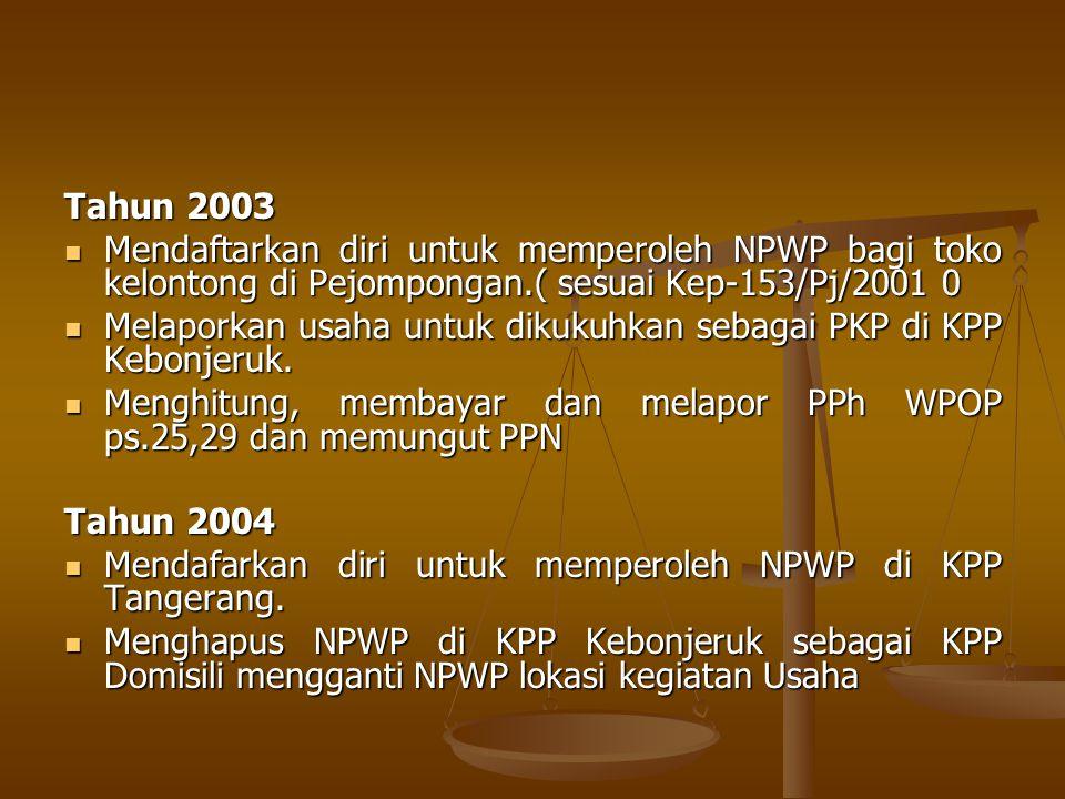 Tahun 2003 Mendaftarkan diri untuk memperoleh NPWP bagi toko kelontong di Pejompongan.( sesuai Kep-153/Pj/2001 0.