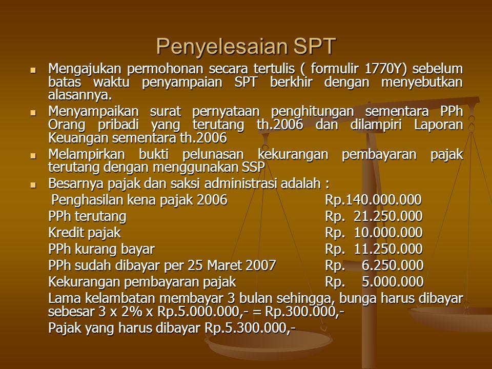 Penyelesaian SPT Mengajukan permohonan secara tertulis ( formulir 1770Y) sebelum batas waktu penyampaian SPT berkhir dengan menyebutkan alasannya.