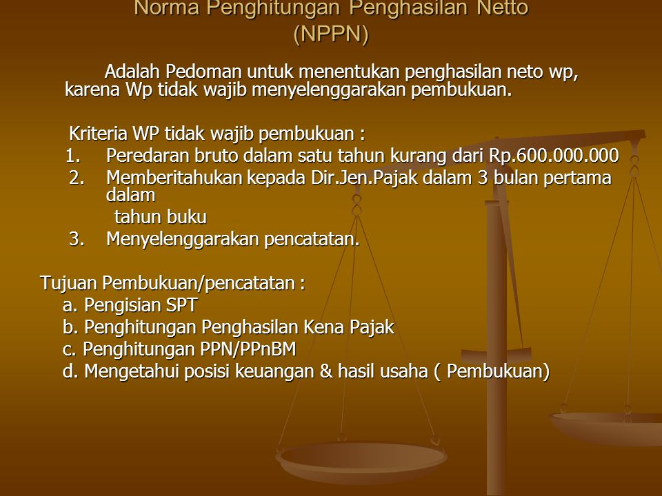 Norma Penghitungan Penghasilan Netto (NPPN)