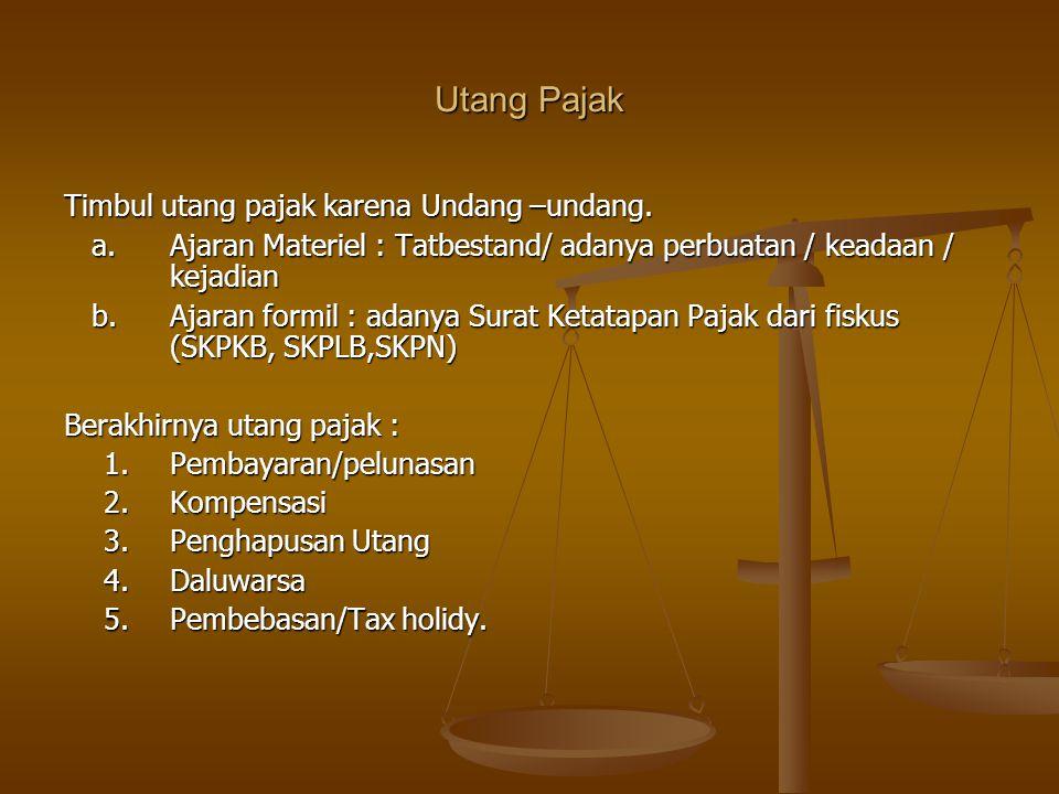 Utang Pajak Timbul utang pajak karena Undang –undang.