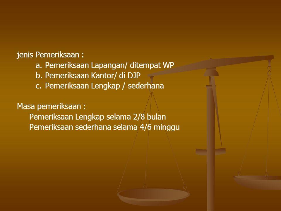 jenis Pemeriksaan : a. Pemeriksaan Lapangan/ ditempat WP. b. Pemeriksaan Kantor/ di DJP. c. Pemeriksaan Lengkap / sederhana.
