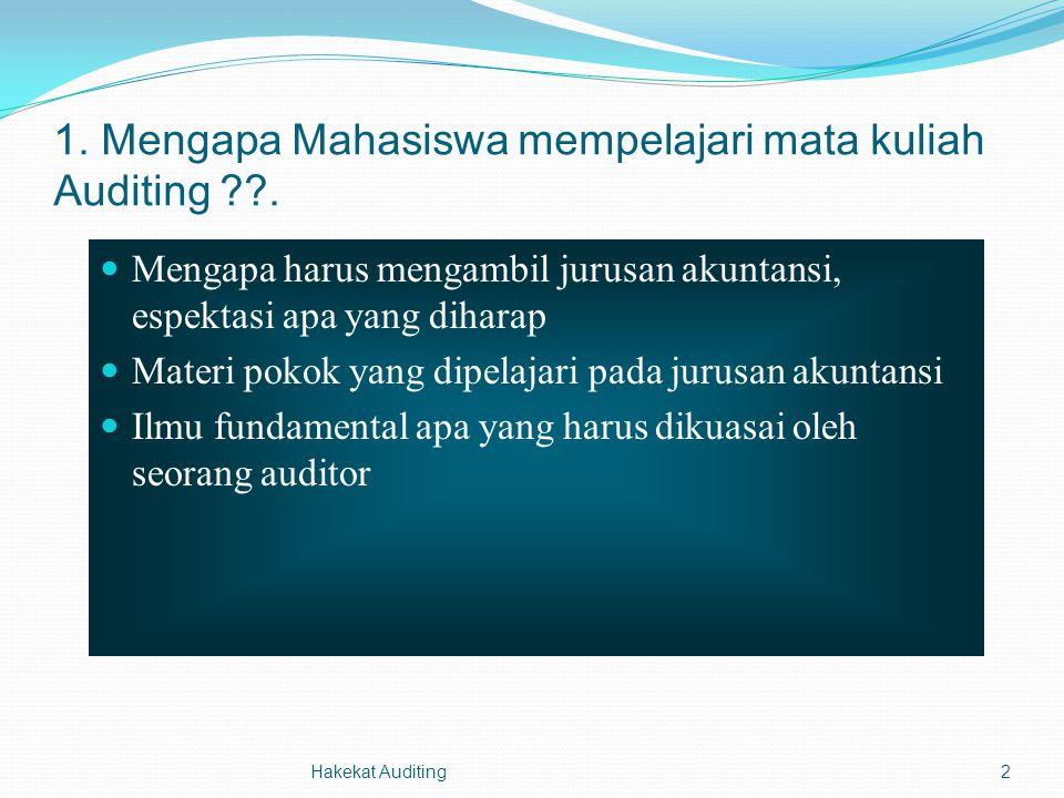 1. Mengapa Mahasiswa mempelajari mata kuliah Auditing .