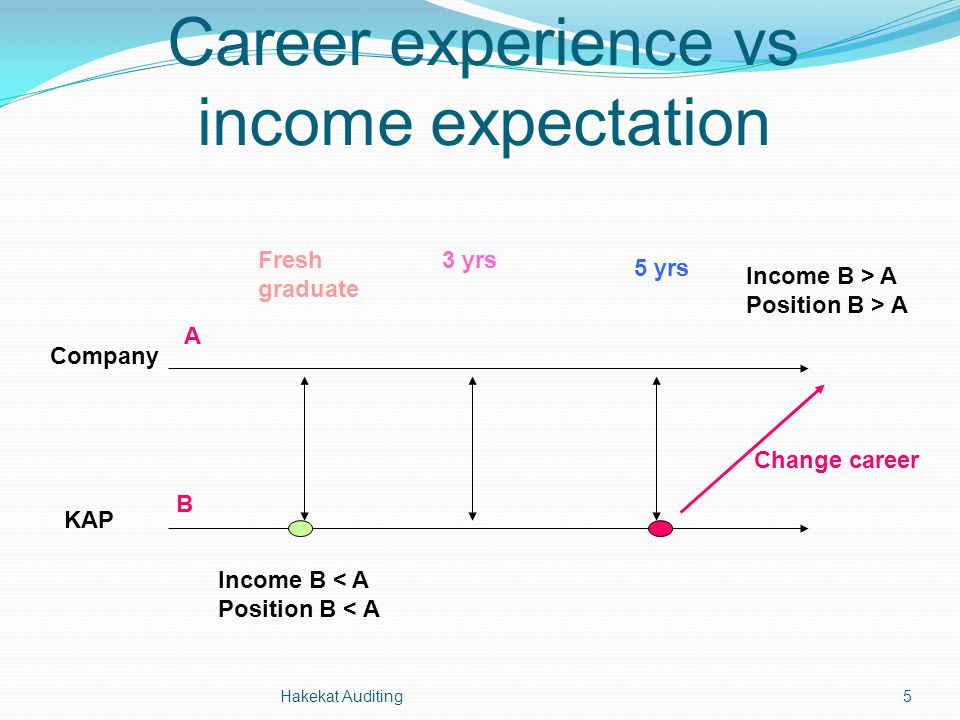 Career experience vs income expectation