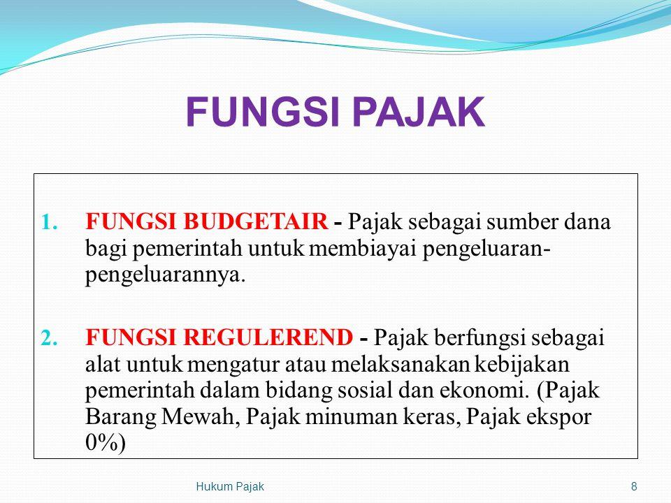 FUNGSI PAJAK FUNGSI BUDGETAIR - Pajak sebagai sumber dana bagi pemerintah untuk membiayai pengeluaran-pengeluarannya.