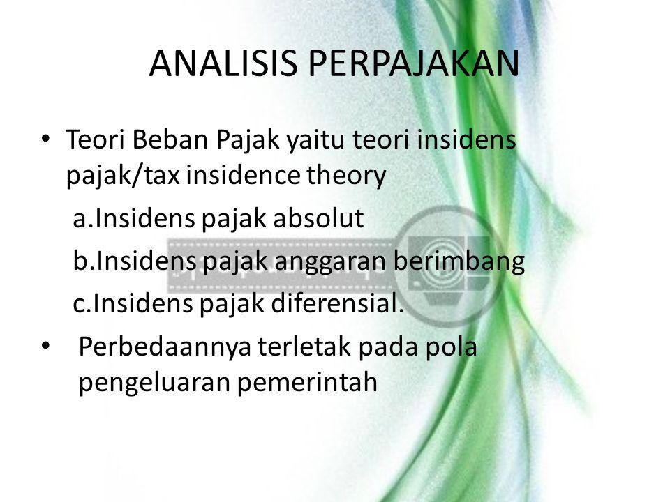 ANALISIS PERPAJAKAN Teori Beban Pajak yaitu teori insidens pajak/tax insidence theory. Insidens pajak absolut.