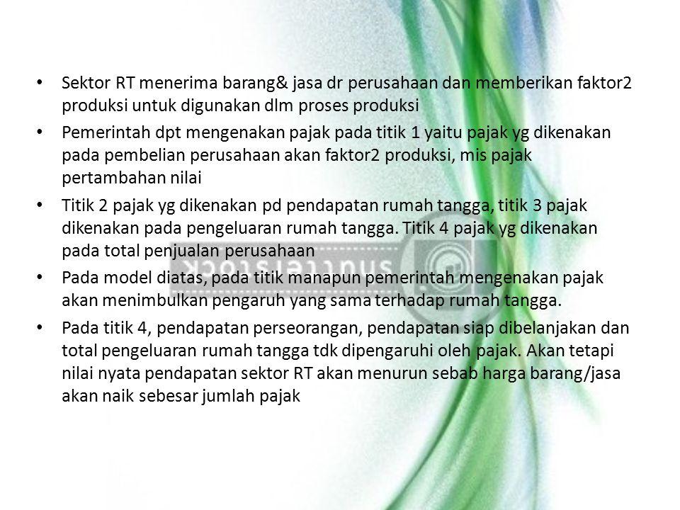 Sektor RT menerima barang& jasa dr perusahaan dan memberikan faktor2 produksi untuk digunakan dlm proses produksi