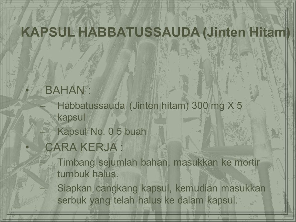 KAPSUL HABBATUSSAUDA (Jinten Hitam)
