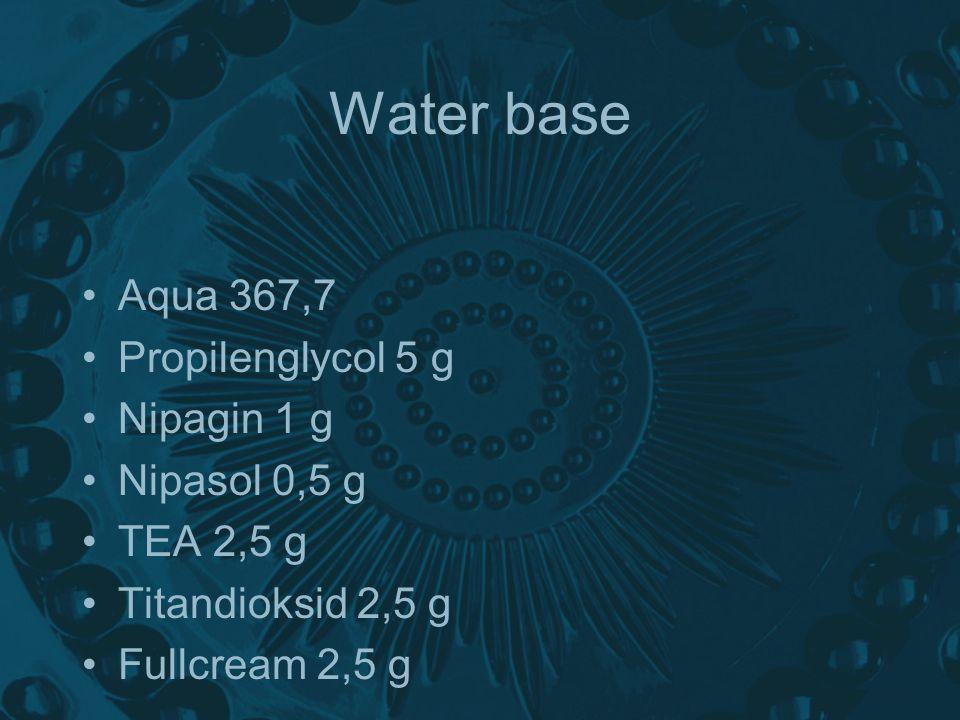 Water base Aqua 367,7 Propilenglycol 5 g Nipagin 1 g Nipasol 0,5 g