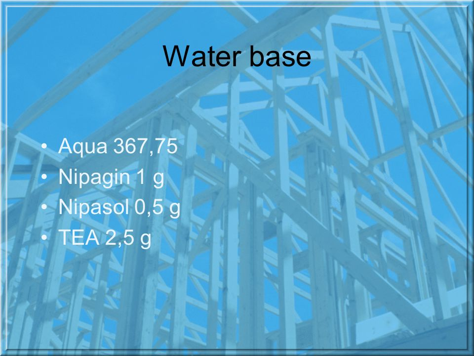 Water base Aqua 367,75 Nipagin 1 g Nipasol 0,5 g TEA 2,5 g