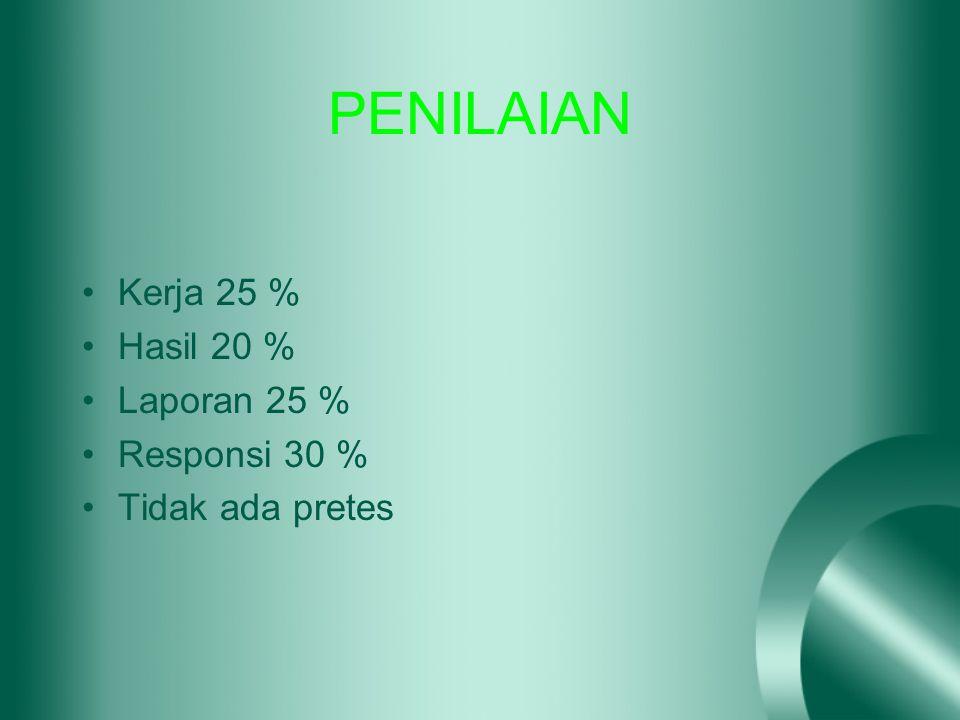 PENILAIAN Kerja 25 % Hasil 20 % Laporan 25 % Responsi 30 %